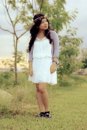 white dress MDS dress - shoes - grey cardigan cotton on cardigan