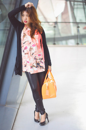 black leggings - carrot orange candy bag Furla bag