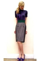 top - pencil skirt skirt - purple bow heels