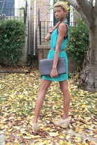 turquoise blue TJ Maxx dress - dark brown vintage bag my moms closet bag