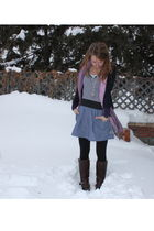 blue joe cardigan - gray le chateau shirt - blue urban behavior skirt - purple l