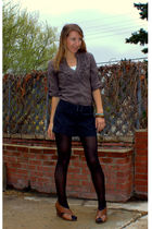 brown Lovely Girl shirt - gray le chateau shorts - brown franco sarto shoes - bl