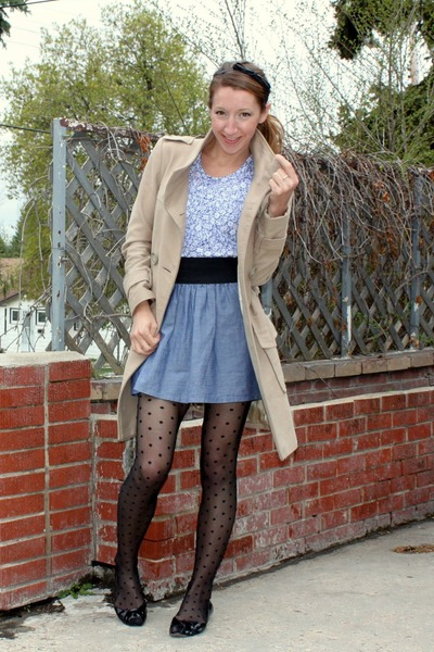 beige le chateau coat - blue Forever 21 top - blue Urban skirt