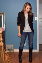 black thrifted blazer - silver American Apparel t-shirt - blue Gap jeans - black