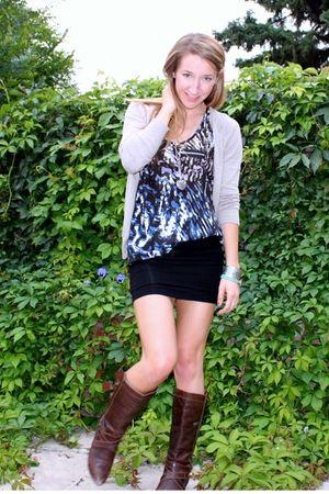 beige Zara cardigan - blue winners shirt - black joe skirt - brown Aldo boots