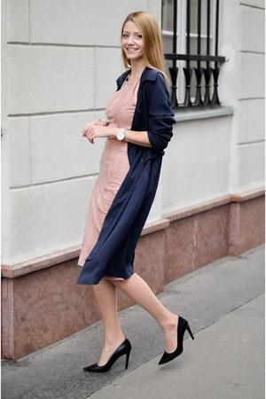 navy Promod coat - light pink Showpo skirt - light pink KLARF watch
