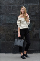 gold evil eye swarovski necklace - ivory v-neck Marks & Spencer sweater