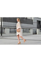 tan camera bag Olympus bag - neutral shirt dress COS dress - bronze Zara heels