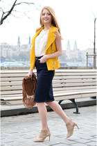 brown tassel F&F bag - white lace F&F top - navy midi denim F&F skirt