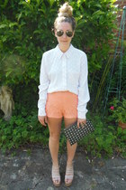 polka dot Topshop shirt - studded clutch Primark bag - lace Forever 21 shorts