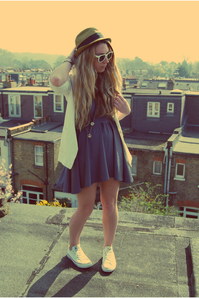 skater American Apparel dress - fedora Urban Outfitters hat