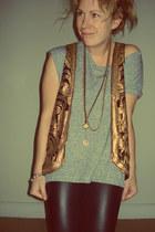 bronze sequin H&M vest - grey Topshop vest - faux leather Primark leggings