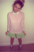 suede wedges new look shoes - pink Marks and Spencers sweater - new look shirt