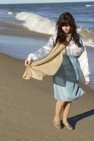 white Vintage Oscar De La Renta blouse - beige H&M scarf - blue thrifted skirt -