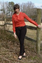 red vintage blouse - black Nordstrom pants - unkown shoes