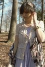 Silver-h-m-scarf-beige-thrifted-top-purple-thrifted-dress-purple-hue-tight