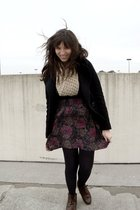 black H&M coat - beige Gap scarf - purple thrifted skirt - black HUE tights - br