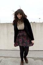 black H&M coat - beige Gap scarf - purple thrifted skirt - black HUE tights - br