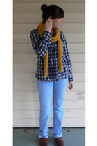 Platos Closet scarf - thrifted express shirt - Bullhead jeans - trotters shoes