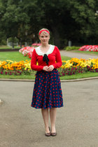 navy modcloth skirt - red cardigan - ivory modcloth blouse