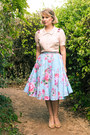 Sky-blue-floral-midi-etsy-skirt-light-pink-detailed-alannah-hill-blouse