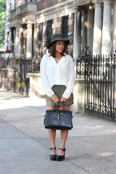 black Zara bag - olive green Forever 21 skirt - black Zara clogs