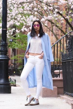 white crop top Zara top - sky blue asos coat - white skinny jeans J Brand jeans