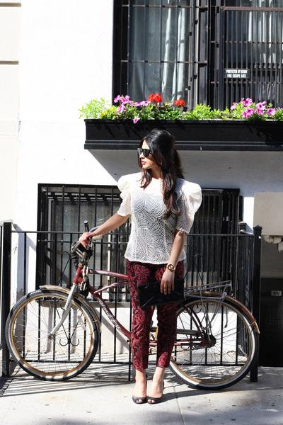 white vintage top - black bcbg max azria bag - red H&M pants