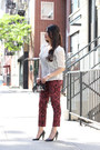 Black-bcbg-max-azria-bag-white-vintage-top-red-h-m-pants