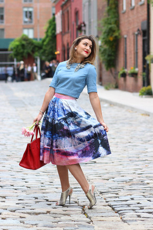 blue denim 3x1 top - red Hermes bag - beige Jenni Kayne heels - 3NY skirt