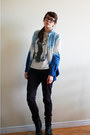 Dark-gray-taxi-boots-black-jeans-blue-forever21-shirt