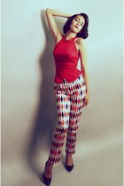 red Pinup Girl Clothing top - white deadly dames pants - black Payless heels