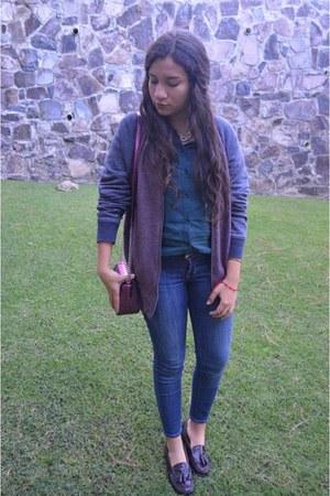 Bass shoes - Guess jeans - Topman jacket - Bershka shirt - Nine West purse