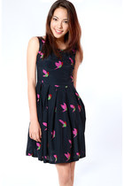navy bird print Flauntcc dress