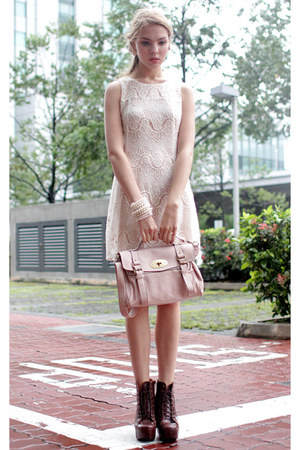 pink satchel Flauntcc bag - Flauntcc boots - lace dress Flauntcc dress