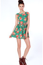 Forest-green-floral-flare-flauntcc-dress