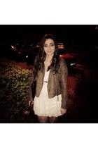 brown Pimkie jacket - white New Yorker dress - brown Bershka belt