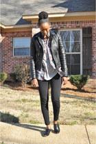 black leather Boda Skins jacket - heather gray Jcrew shirt