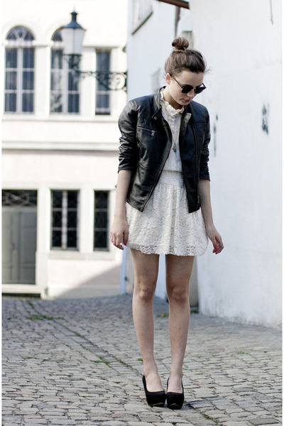 leather Zara jacket - Zara skirt - Zara blouse