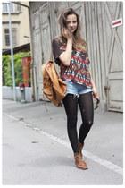 Wkshp shirt - tawny thrifted bag - vintage Levis shorts