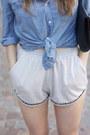 Clutch-h-m-bag-periwinkle-ntice-shorts-blue-h-m-blouse