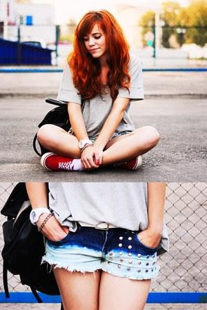 blue denim shorts DIY shorts - silver Mango top - ruby red Vans sneakers