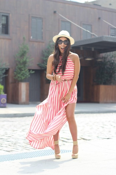 H&amp;M hat - Forever21 dress - Shiek wedges