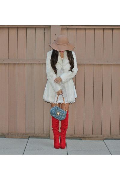 Charlotte Russe boots - H&M dress - Bebe jacket - Louis Vuitton bag