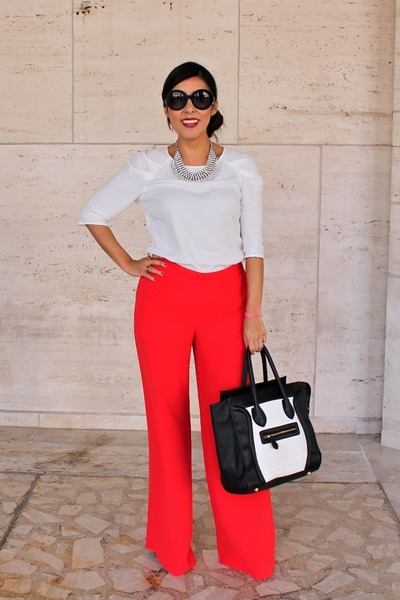 Zara top - Zara necklace - rachel roy pants - leather Christian Louboutin pumps
