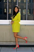 light yellow neon H&M dress - hot pink charol Christian Louboutin heels
