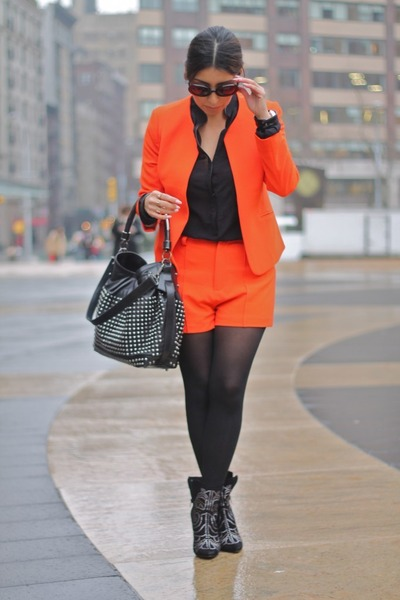 black Aldo shoes - black Burberry bag - carrot orange Zara shorts