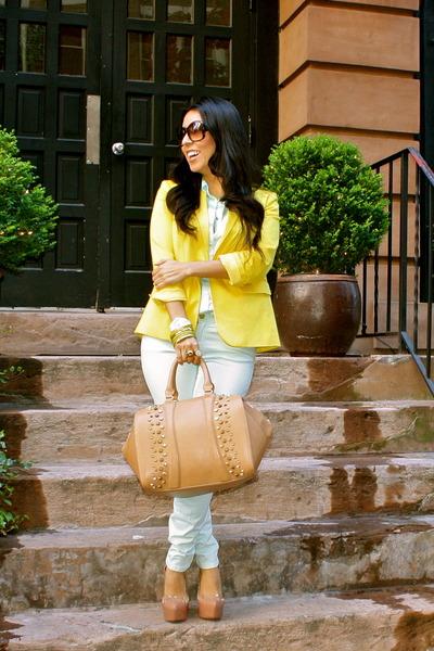 light blue Zara jeans - light yellow ann taylor blazer