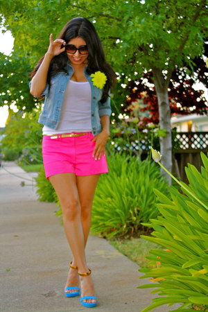 navy Forever 21 jacket - hot pink H&M shorts - aquamarine Gucci heels