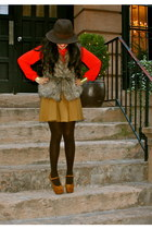 red Forever 21 blouse - camel H&M skirt
